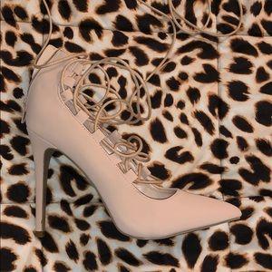 Blush/tan lace up high heels size 9